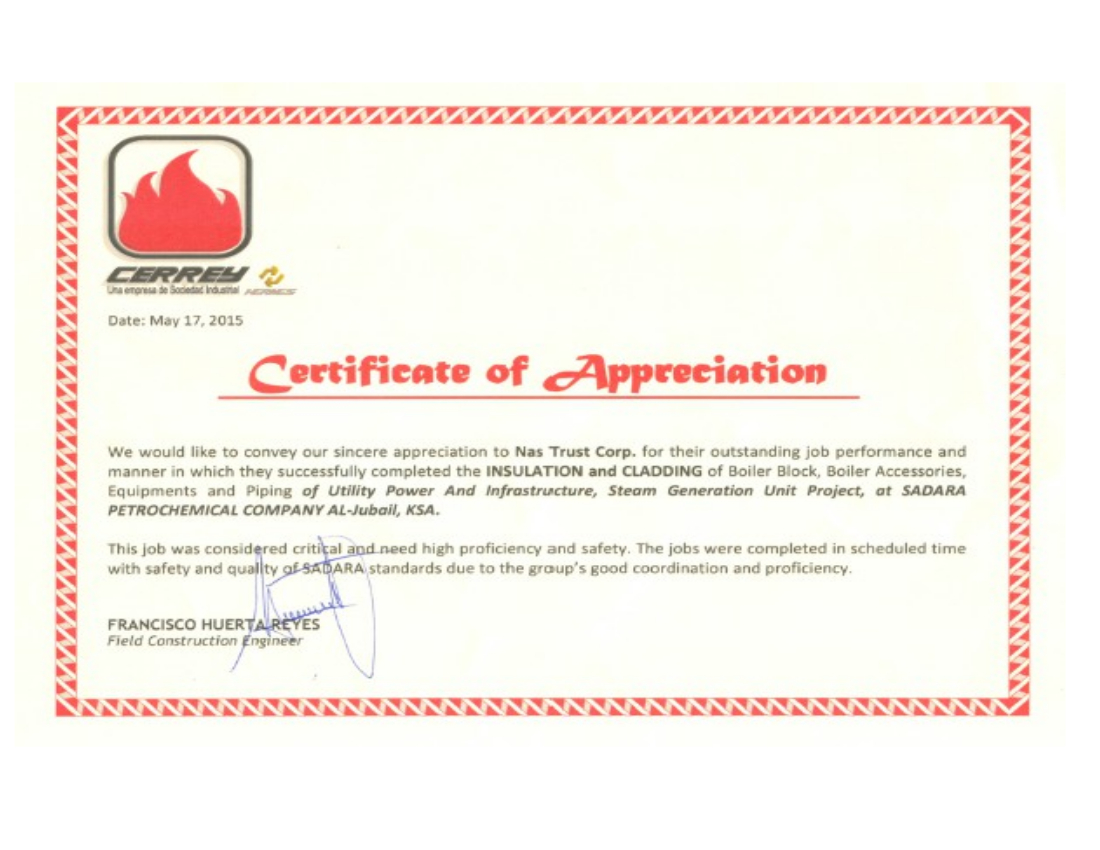 CERREY APPRECIATION CERTIFICATE