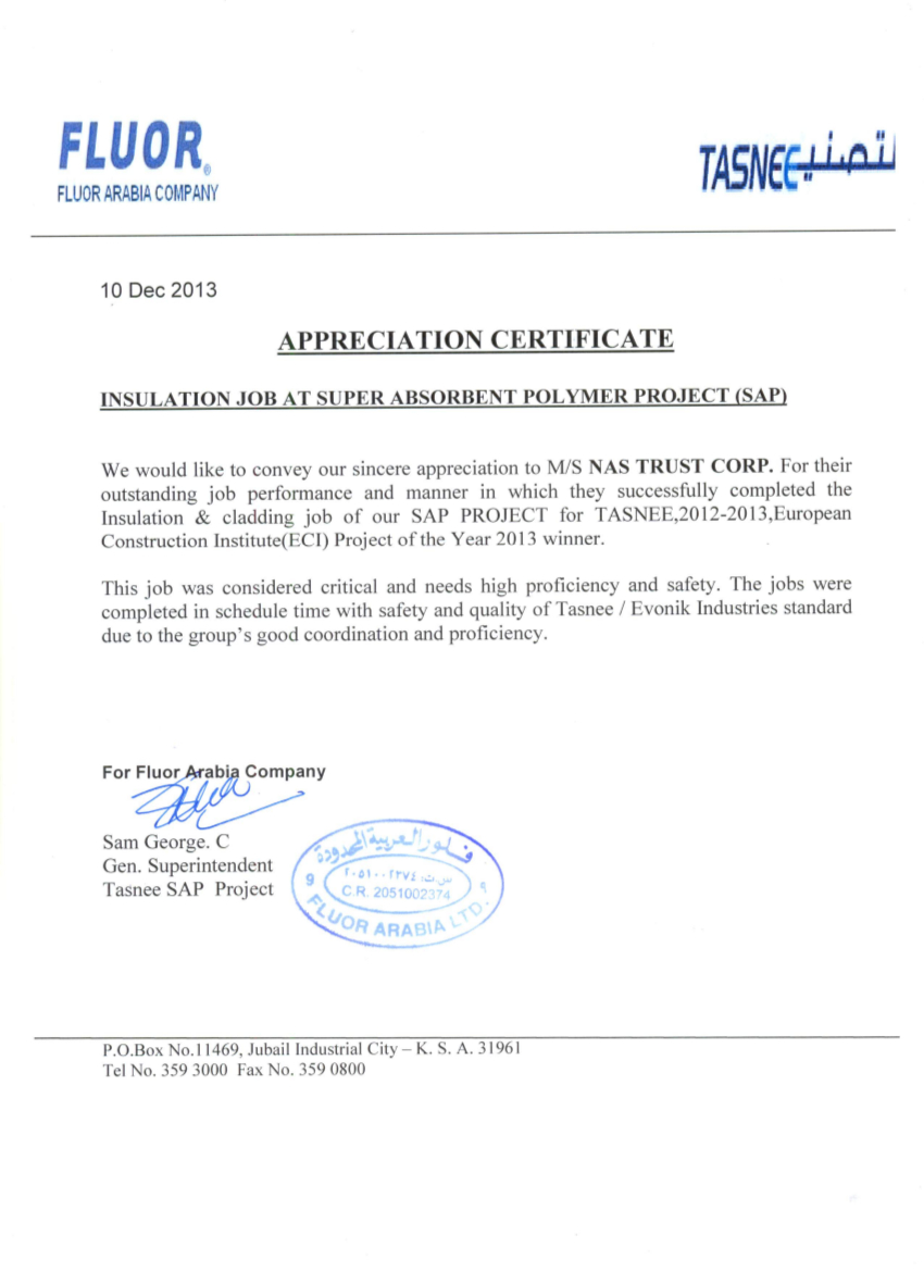 FLOUR ARABIA COMPANY_Certificate of Appreciation