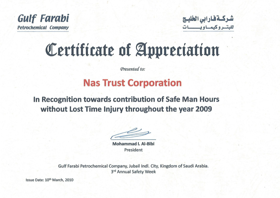 GULF FARABI_Certificate of Appreciation